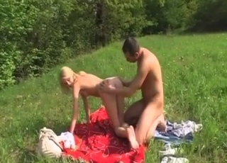 Crazy leggy teen drilled outdoors