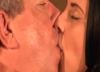 Young girl vigorously licked by daddy