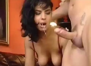 Drooling bitch worships her bro's dick