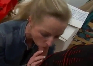Blonde is obsessed with cock-sucking