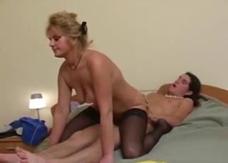 Blonde's beautiful cunt ruined by her son