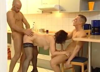 Redhead enjoying threesome MMF