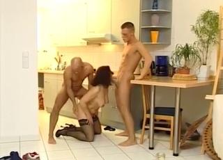 Redhead enjoying threesome MMF