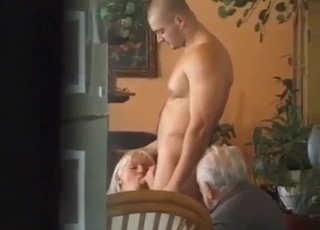 Blonde seduces son and grandpa