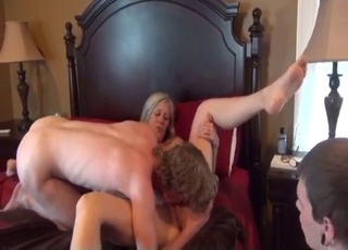 Blonde banged by the both sons