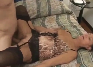 Sideways banging for his kinky mommy