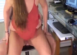 Thick booty chick fucks her bald brother