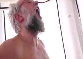 Scrawny hoe fucks her granddad
