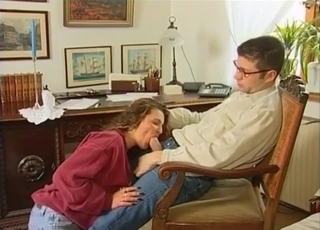 Brown-haired chick blowing her dad