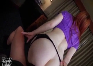 Redhead happily riding son's big dick
