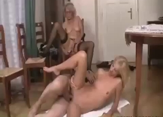 Father fucks daughter while mom watches