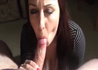 Big booty babe sucking cock in POV