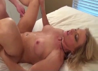 Sweaty fucking with a blond-haired bitch