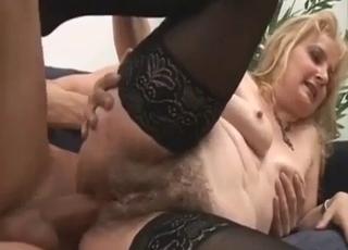 Grandma's hairy anal hole gets ruined