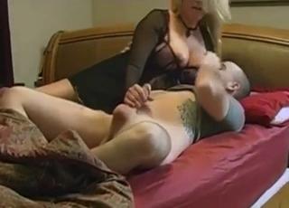 Sucking on mommy's titties like a good boy