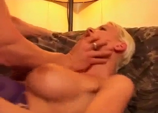 Tanned bitch ruined by her hung son