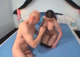Brunette in black fucks her dad