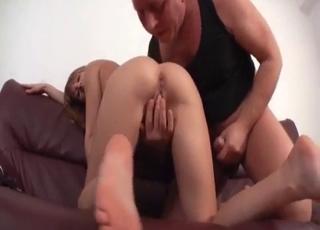 Heels-wearing blonde banged by her dad