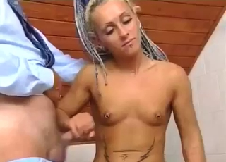 Pierced nips jerking her dad, unhappily