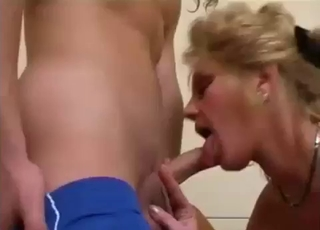 Mommy in stockings fucks her son