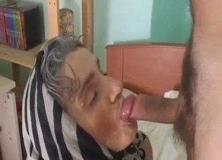 Senile granny ass-gaped by her son