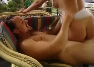 Tanned chick rides her bro's big cock