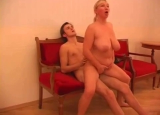 Blonde BBW riding son's big dick