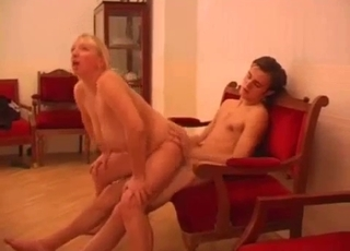 Blonde BBW riding son's big dick