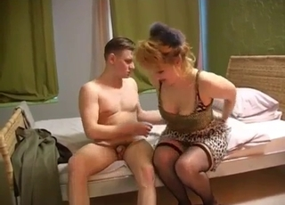Mommy in stockings fucking her son