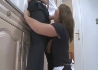 Brown-haired babe face-fucked by dad