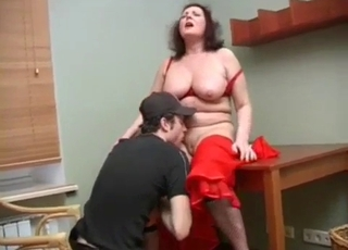 Curly MILF wants her son to fuck her tits