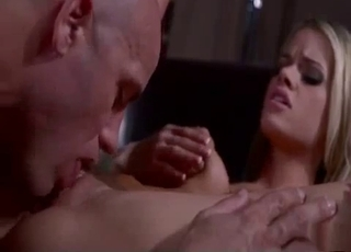 Blonde happily gets licked by daddy