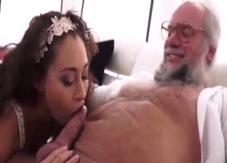 White panties beauty sucks dad's dick