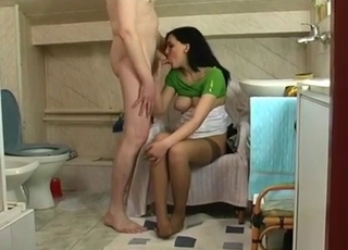 Green dress brunette jerking daddy's dick