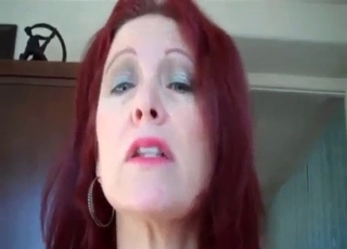 Redhead in cute panties fucks her son