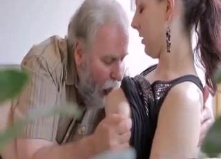 Ponytailed babe fucks grandpa here