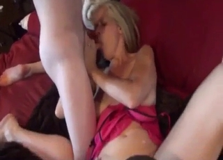 Blonde fucks her two hung young sons