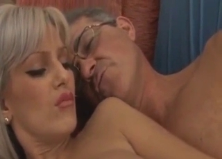 Sexy little blonde rides dad's hot cock