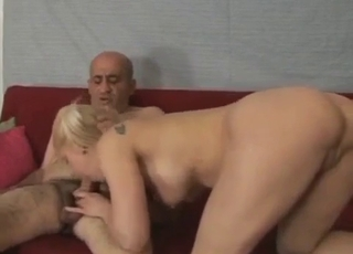 Pigtailed young girl fucking her father