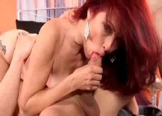 Redheaded MILF slowly sucking it