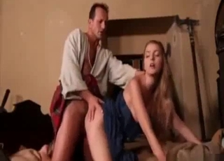 Skirt-wearing daddy fucks his daughter