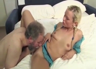 Braided blonde seduced by her daddy