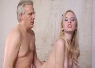 Pale pussy blonde drilled by daddy