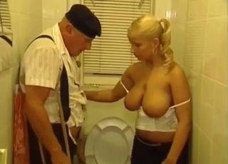 Blonde jerks her senile granddaddy
