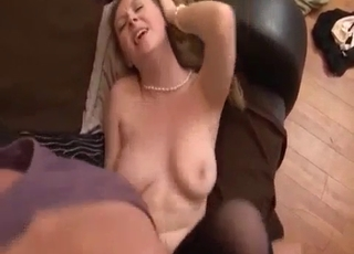 Stockings-clad blonde fucks her dad
