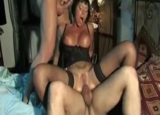 Tanned butch-y MILF gets double-teamed