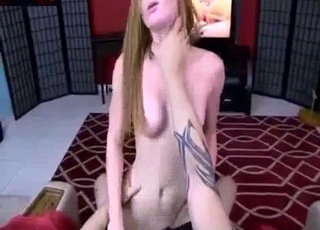 Redhead chick enjoying POV cowgirl