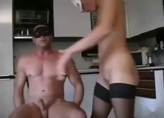 Stockings-wearing hoe fucks her bro