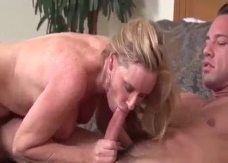 Thong-wearing mom blows him good