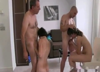 Insane incest sex session with four people